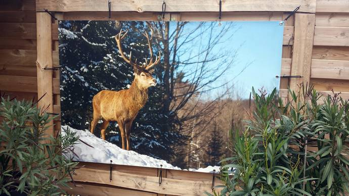Tuinposter 100 x 150 cm op schutting